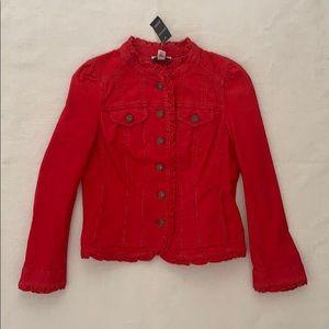 Ann Taylor Loft Corduroy Ruffled Collar Jacket